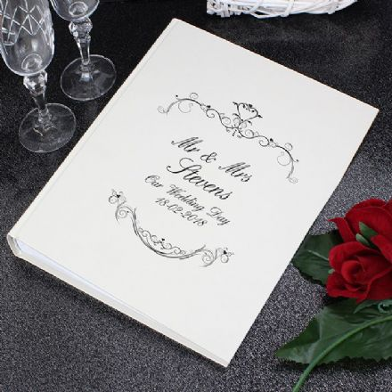 Personalised Black Ornate Swirl Photo Album With Sleeves